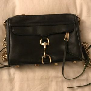 Rebecca Minkoff mac crossbody bag dark green gold